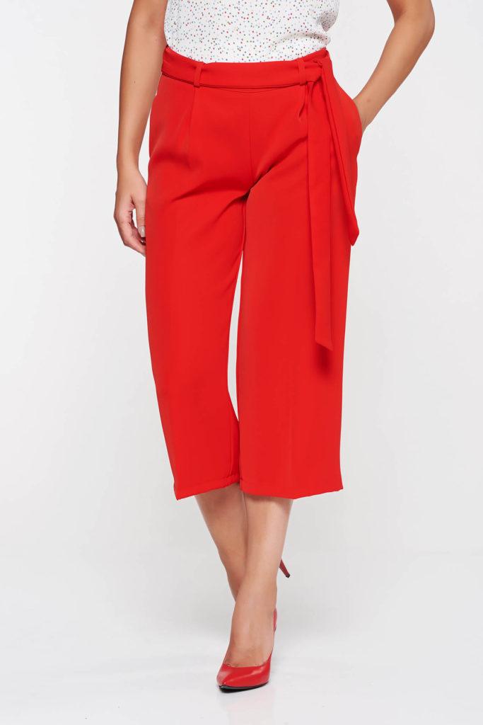 Pantaloni rosii cu talie inalta marca PrettyGirl confecționați din tesatura subtire cu structura distincta si aspect monocromatic