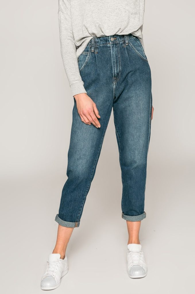 Blugi mom fit albastru inchis de dama marca Pepe Jeans cu talia inaltata din denim de bumbac de calitate superioara