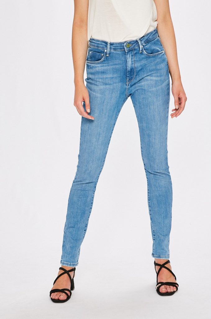 Jeansi albastri originali de firma Pepe Jeans cu fason skinny din denim spalacit