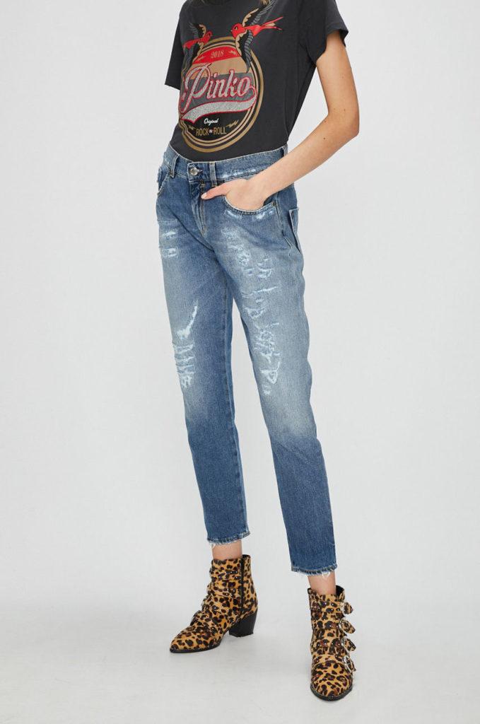 Jeans albastri skinny din colectia Pinko Lupin realizati din material de denim abrazat decorativ