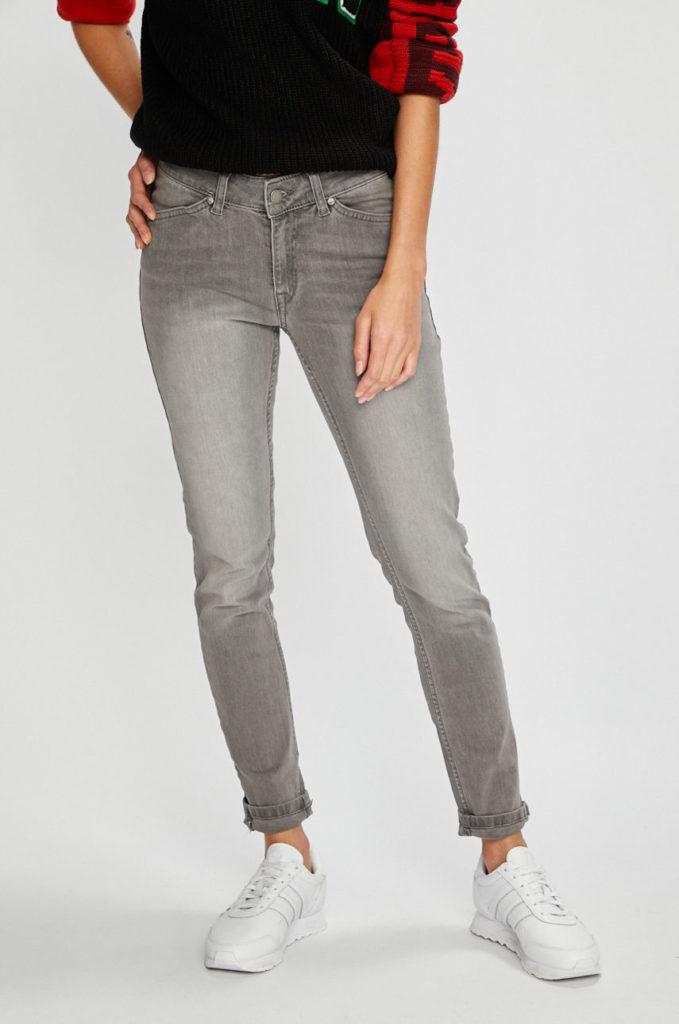 Jeansi gri skinny elastici de dama Roxy Seatripper din denim cu aspect spalacit
