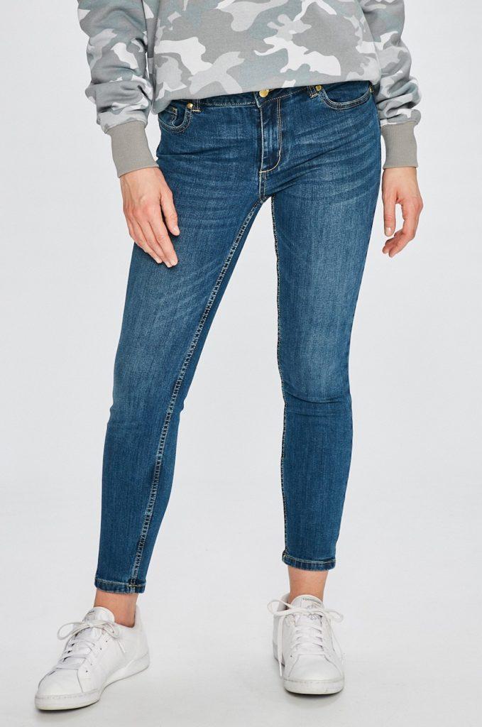 Jeansi albastri skinny originali SH Rancharia cu fason slim din denim spalacit si elastic