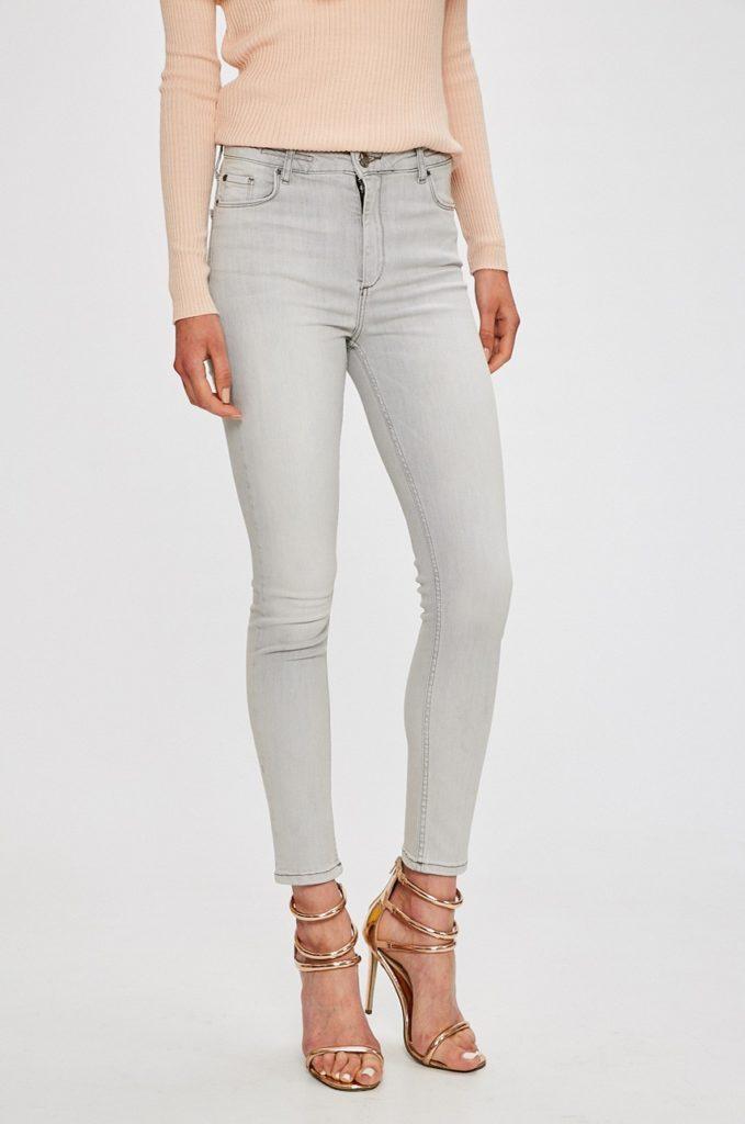 Jeansi gri deschis originali de calitate marca Silvian Heach Meg Pin-Up pentru femei cu fason slim