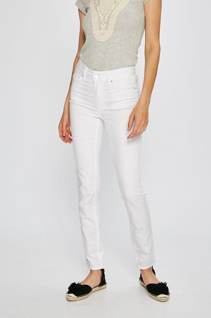 Jeansi originali albi de calitate marca Silvian Heach Simao pentru femei cu fason skinny