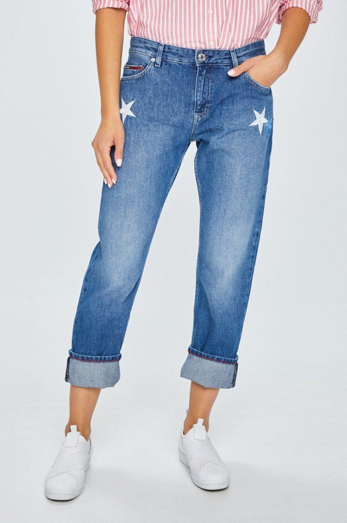 produse calde vânzare profesională stil de viață nou Blugi drepti albastri marca Tommy Jeans din denim spalacit si ...
