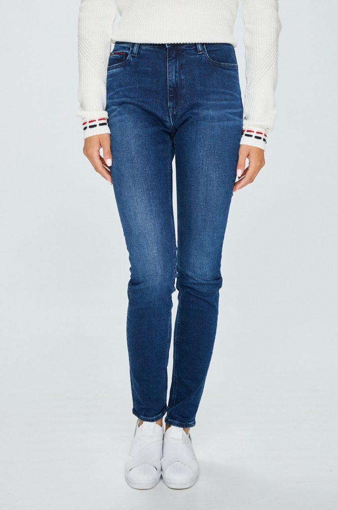 Blugi cu talia inalta albastru inchis casual Tommy Jeans cu croiala skinny din denim spalacit si usor elastic