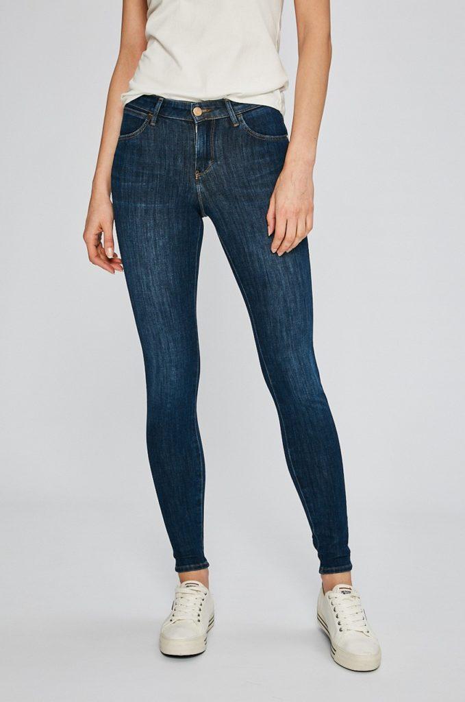Blugi albastri de firma originali Wrangler Summer Night cu croiala super skinny din material cu efecte spalacite decorative